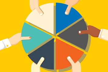Pie chart with hands
