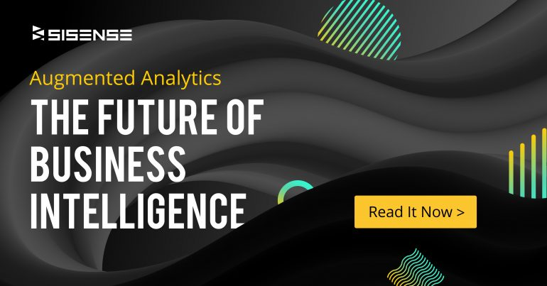 "An image of geometric shapes with the words ""Augmented Analytics The Future of Business Intelligence"" over them."