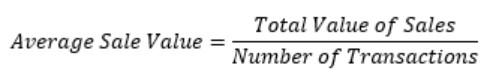 Average Sale Value - Formula