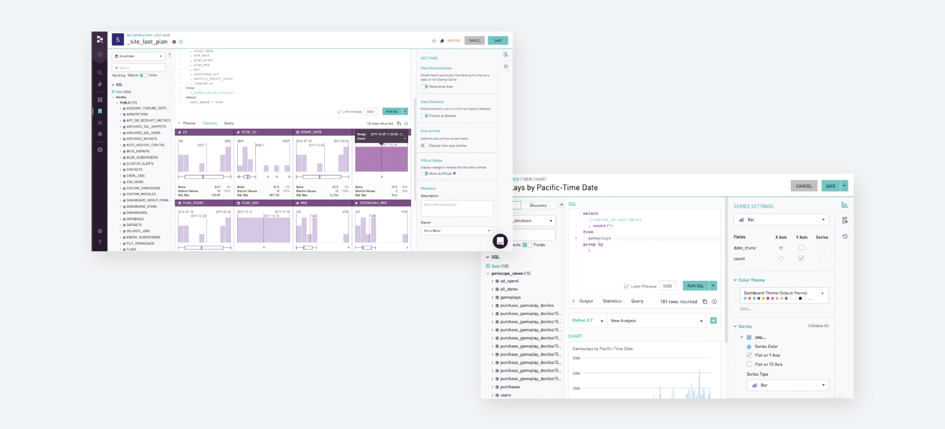 Seamless end to end  analytics with Sisense for code driven analytics including SQL, Python, and R.