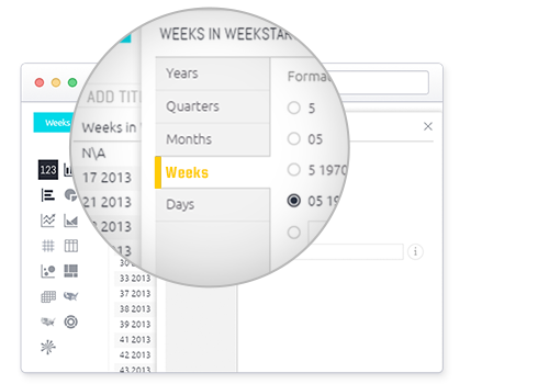 aggregate data by weeks in sisense 6.4