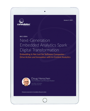 Analyst report from Constellation Research on Analytic trends and modern embedded analytics.