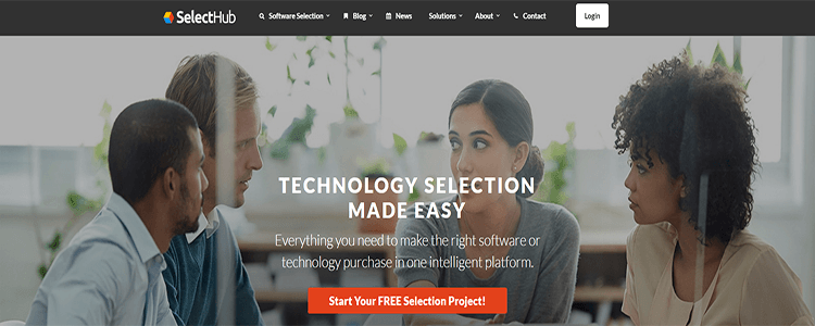 Screenshot SelectHub website