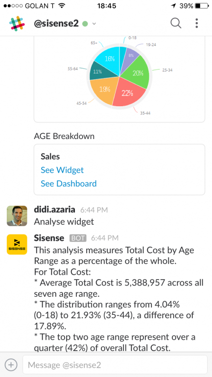 Screenshot: Sisense Slack Bot in action