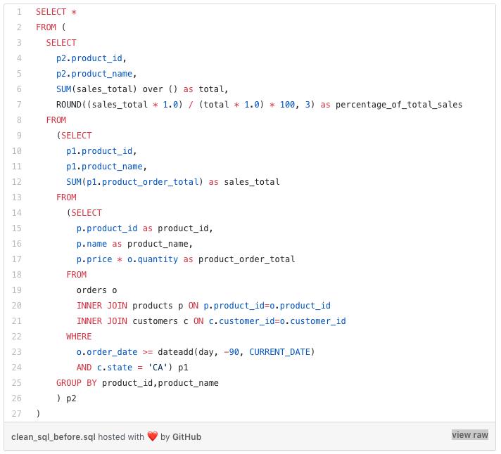 SQL Code block 1